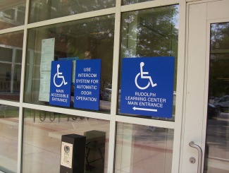 Hope Academy (Chicago); Accessible Handicap Signs on Glass