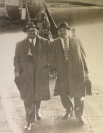 Davie (right) and Mel (left) returning from a meeting in England
