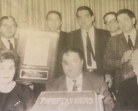 The Founders presenting a dedication plaque -- (Back left-right): Harry Kreiter, Boomie Kreiter, Manny Kreiter, Billy Keene, Nusie Kreiter, (Front, left-right): Rhoda Kreiter, Davie Kreiter