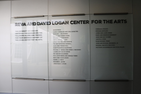 Logan Center For The Arts (University of Chicago); Glass with Second-Surface, Applied Vinyl Letters