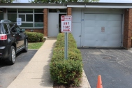 Indian Trail Elementary School (Highland Park); No Parking Any Time Vinyl sign on U-Channel Post