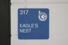 Edgewood Middle School (Highland Park); Marquee Computer Lab sign with Tactile & Braille with school logo
