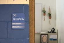 Classroom sign with Tactile & Braille, and two window units