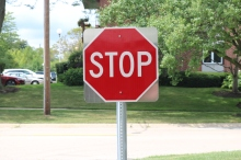 Indian Trail Elementary School (Highland Park); Stop Sign with Do Not Enter Sign (on back) on U-Channel Post