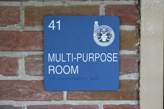 Sherwood Elementary School (Highland Park); Marquee Multi-Purpose Room Sign with Tactile & Braille and school logo