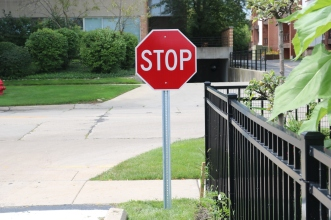 Indian Trail Elementary School (Highland Park); Stop Sign on U-Channel Post