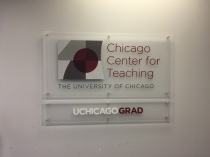 Chicago Center for Teaching (University of Chicago); Cap and Barrel sign with high performance vinyl letters and logo on frosted acrylic