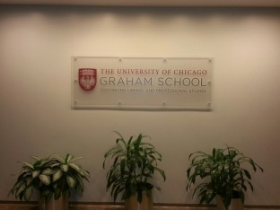 Graham School (University of Chicago); Frosted Acrylic with Cap-and-Barrel + Wall Graphic