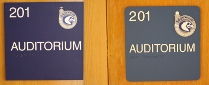 Edgewood Middle School (Highland Park); Temporary Sign (left) & Permanent Sign (right)