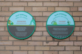 Eugene Field Elementary School (Chicago, IL); Exterior Signage mounted on brick
