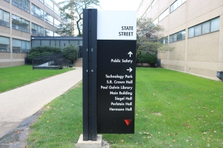 Illinois Institute of Technology (Chicago, IL); Post and Panel Sign with High Performance Vinyl Copy + Logo