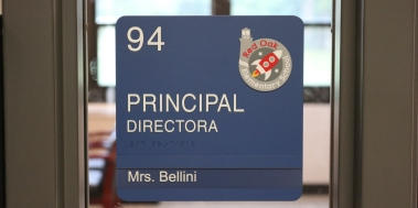 Red Oak Elementary School (Highland Park, IL); Principal ADA compliant sign with Spanish copy + 1 window unit
