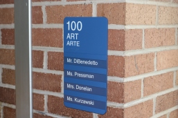 Red Oak Elementary School (Highland Park, IL); Art ADA compliant sign with Spanish copy + 4 window units