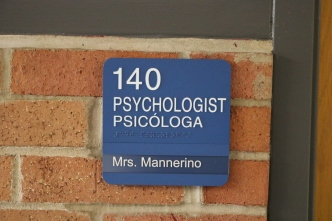 Red Oak Elementary School (Highland Park, IL); Psychologist ADA compliant sign with Spanish copy + 1 window unit