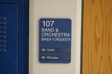 Red Oak Elementary School (Highland Park, IL); Band & Orchestra ADA compliant sign with Spanish copy + 2 window units