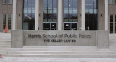 Harris School of Public Policy (University of Chicago) : Fabricated, Back-lit, Stainless Steel Dimensional Letters