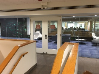 Crear Library (University of Chicago); Reflective Multi-colored Vinyl Dots on Glass