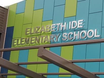Elizabeth Ide Elementary School (Darien, IL); Fabricated Aluminum, Back-lit, Dimensional Letters