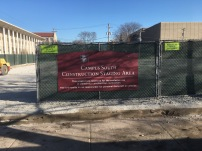 "Construction Staging Area Sign (University of Chicago); 1/8"" thick, max metal with backer and high-end Digital print on a fence mount"
