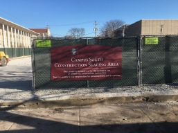 """Construction Staging Area Sign (University of Chicago); 1/8"""" thick, max metal with backer and high-end Digital print on a fence mount"""