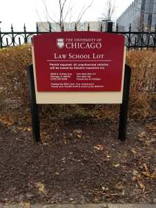 Law School Lot (University of Chicago); Post and Panel Sign