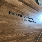 """Harris School (University of Chicago); Laser Etched Imaging on a one inch thick plank (8""""h x 4'w)"""