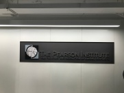 Harris School/Pearson Suite (University of Chicago); Reverse Pan-Sign with Stainless Steel letters and Digitally Rendered Art
