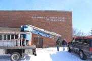 Northwood Junior High at Elm Place School (Highland Park, IL); Dimensional Injected-Molded Letters Painted Silver