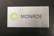 Stainless Steel Room Sign with Horizontal Grain finish + Black Tactile Copy and 1st surface printed tree with Tactile Braille