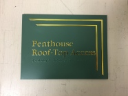 Hamilton Partners (Downers Grove, IL); ADA Tactile and Braile room Sign with Bright Gold, Raised, Rule Design