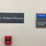 Highland Park Hospital (Staor sign); ADA Tactile and Braille Room Sign with Wood Frame + Patient Rooms Directional