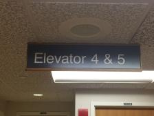 Highland Park Hospital (Elevator 4 & 5); Hanging Directional Sign