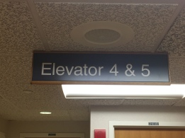 Highland Park Hospital (Elevator 4 & 5); Hanging Directional Sign