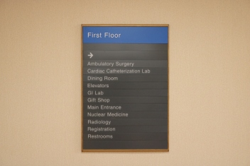 NorthShore University HealthSystem (Skokie, IL); First Floor Directory with Wood Frame