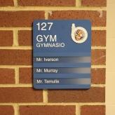 Oak Terrace Elementary School (Highland Park, IL); Gym ADA compliant sign with Spanish copy + 3 Window Units