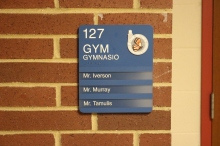 Oak Terrace Elementary School (Highland Park, IL); Gym ADA compliant sign with Spanish copy + 3 Window Units