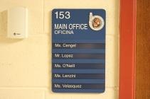 Oak Terrace Elementary School (Highland Park, IL); Main Office ADA compliant sign with Spanish copy + 5 window units