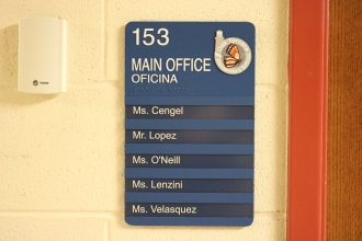 Oak Terrace Elementary School (Highland Park, IL); Main Office ADA compliant sign with Spanish copy + 5 window units
