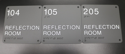 Illinois State University (Normal, IL); ADA Tactile & Braille Reflection Room Signs with Counter-sunk Holes