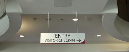 Loyola University (Chicago, IL); Ceiling-Hung, Entry/Visitor Check-In Sign