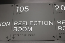 Illinois State University (Normal, IL); ADA Tactile & Braille Reflection Room Sign with Counter-sunk Holes