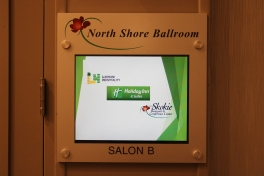 North Shore Ballroom (Skokie, IL); Cap & Barrel Sign with Direct Digital Print + Tactile and Braille Footer, around existing monitor