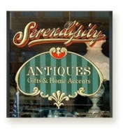 Serendipity Antiques; Second Surface, Gold & Silver Leaf letters and logo by our GoldFather