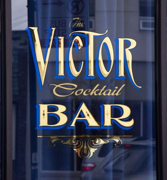 The Victor Cocktail Bar; First Surface, Gold & Silver Leaf letters and design by our GoldFather