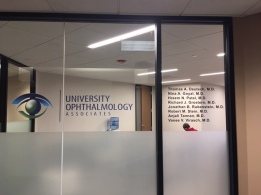 University Ophthalmology Associates (Chicago, IL); High-end Digital Logo with High-Performance Vinyl + Frosted Privacy Vinyl Decals