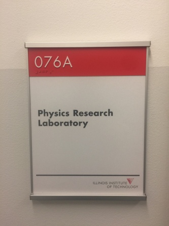 Pritzker Science Center (Illinois Institute of Technology); NovaPolymer Room Sign with Tactile and Braille + Satin Aluminum Frame