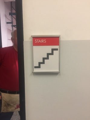 Pritzker Science Center (Illinois Institute of Technology); NovaPolymer Stair Sign with Tactile and Braille + Satin Aluminum Frame