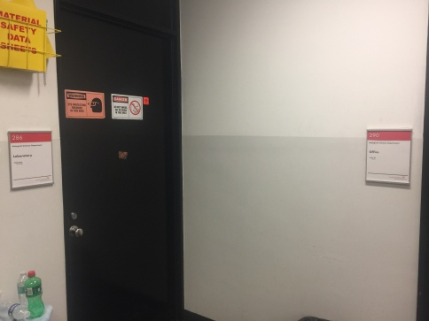 Pritzker Science Center (Illinois Institute of Technology); NovaPolymer Room Signs with Tactile and Braille + Satin Aluminum Frame