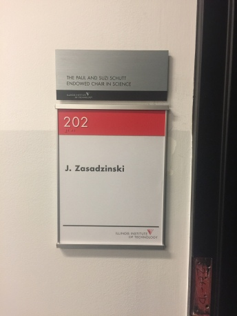 Pritzker Science Center (Illinois Institute of Technology); NovaPolymer Room Sign with Tactile and Braille + Satin Aluminum Frame & Dedication Plaque