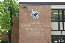 """Red Oak Elementary School (Highland Park, IL); 4' Etched Aluminum Plaque with 1/8""""thick Aluminum Letters"""
